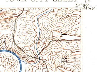 Reduced fragment of topographic map en--usgs--063k--055772--(1891)--N041-45_W091-45--N041-30_W091-30; towns and cities Iowa City, Coralville, Hills, North Liberty, Tiffin