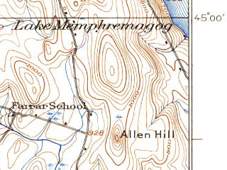 Reduced fragment of topographic map en--usgs--063k--055775--(1925)--N045-00_W072-30--N044-45_W072-15; towns and cities North Troy