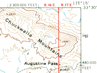 Reduced fragment of topographic map en--usgs--063k--055780--(1963)--N033-30_W115-30--N033-15_W115-15
