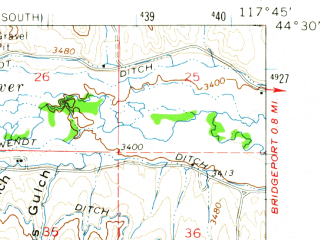 Reduced fragment of topographic map en--usgs--063k--055792--(1964)--N044-30_W118-00--N044-15_W117-45