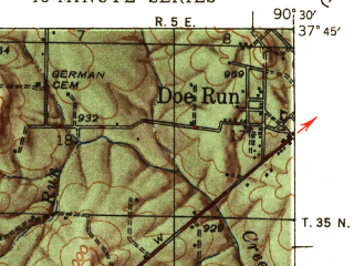 Reduced fragment of topographic map en--usgs--063k--055794--(1953)--N037-45_W090-45--N037-30_W090-30; towns and cities Arcadia, Iron Mountain Lake, Ironton