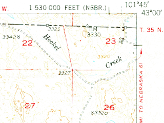 Reduced fragment of topographic map en--usgs--063k--055798--(1950)--N043-00_W102-00--N042-45_W101-45