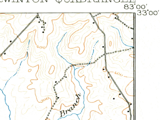 Reduced fragment of topographic map en--usgs--063k--055799--(1916)--N033-00_W083-15--N032-45_W083-00; towns and cities Irwinton, Mcintyre, Toomsboro