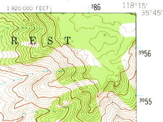 Reduced fragment of topographic map en--usgs--063k--055802--(1943)--N035-45_W118-30--N035-30_W118-15; towns and cities Bodfish, Lake Isabella, Mountain Mesa