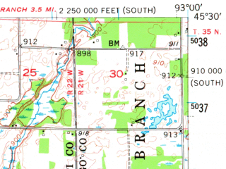 Reduced fragment of topographic map en--usgs--063k--055803--(1955)--N045-30_W093-15--N045-15_W093-00; towns and cities East Bethel, Ham Lake