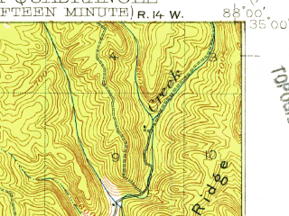 Reduced fragment of topographic map en--usgs--063k--055813--(1911)--N035-00_W088-15--N034-45_W088-00; towns and cities Iuka, Waterloo