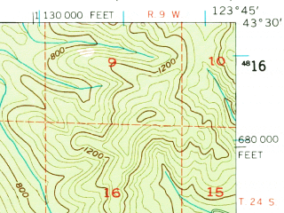 Reduced fragment of topographic map en--usgs--063k--055818--(1955)--N043-30_W124-00--N043-15_W123-45