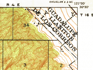 Reduced fragment of topographic map en--usgs--063k--055841--(1940)--N036-30_W121-45--N036-15_W121-30; towns and cities Carmel Valley Village