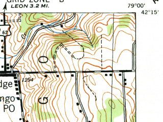 Reduced fragment of topographic map en--usgs--063k--055842--(1942)--N042-15_W079-15--N042-00_W079-00; towns and cities Jamestown, Falconer, Frewsburg