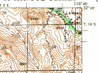 Reduced fragment of topographic map en--usgs--063k--055848--(1943)--N032-45_W117-00--N032-30_W116-45 in area of Lower Otay Reservoir; towns and cities Spring Valley, Rancho San Diego, Casa De Oro, Jamul