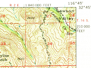 Reduced fragment of topographic map en--usgs--063k--055848--(1955)--N032-45_W117-00--N032-30_W116-45 in area of Lower Otay Reservoir; towns and cities Spring Valley, Casa De Oro, Rancho San Diego, Jamul