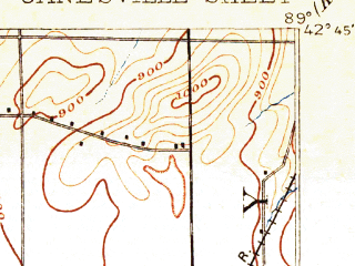 Reduced fragment of topographic map en--usgs--063k--055849--(1893)--N042-45_W089-15--N042-30_W089-00; towns and cities Janesville, Beloit, Footville