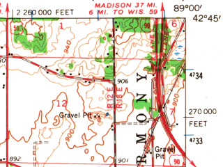 Reduced fragment of topographic map en--usgs--063k--055849--(1962)--N042-45_W089-15--N042-30_W089-00; towns and cities Janesville, Beloit, Footville