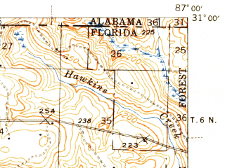 Reduced fragment of topographic map en--usgs--063k--055859--(1943)--N031-00_W087-15--N030-45_W087-00; towns and cities Jay