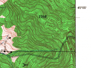 Reduced fragment of topographic map en--usgs--063k--055861--(1943)--N045-00_W072-45--N044-45_W072-30; towns and cities Richford