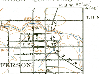 Reduced fragment of topographic map en--usgs--063k--055864--(1905)--N041-45_W081-00--N041-30_W080-45 in area of Akron City Reservoir; towns and cities Roaming Shores, Rock Creek, Jefferson