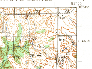 Reduced fragment of topographic map en--usgs--063k--055867--(1942)--N038-45_W092-15--N038-30_W092-00; towns and cities Jefferson City, Lake Mykee Town, New Bloomfield, Holts Summit