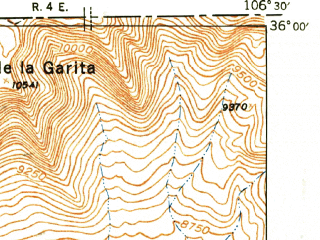 Reduced fragment of topographic map en--usgs--063k--055874--(1944)--N036-00_W106-45--N035-45_W106-30; towns and cities Jemez Springs