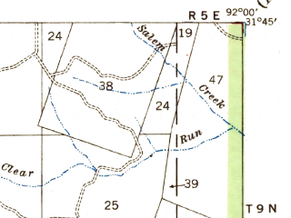 Reduced fragment of topographic map en--usgs--063k--055875--(1941)--N031-45_W092-15--N031-30_W092-00; towns and cities Jena, Midway