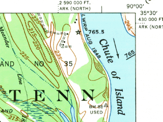 Reduced fragment of topographic map en--usgs--063k--055877--(1952)--N035-30_W090-15--N035-15_W090-00 in area of Wapanocca Lake; towns and cities Jericho