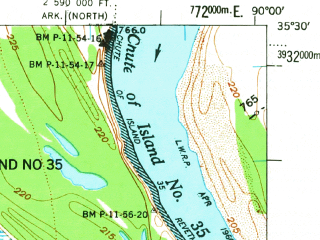 Reduced fragment of topographic map en--usgs--063k--055877--(1962)--N035-30_W090-15--N035-15_W090-00 in area of Wapanocca Lake; towns and cities Jericho