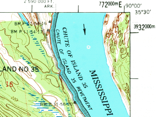 Reduced fragment of topographic map en--usgs--063k--055877--(1975)--N035-30_W090-15--N035-15_W090-00 in area of Wapanocca Lake; towns and cities Jericho