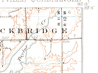 Reduced fragment of topographic map en--usgs--063k--055879--(1930)--N039-15_W090-30--N039-00_W090-15; towns and cities Jerseyville, Fieldon, Kane, Otterville