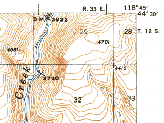 Reduced fragment of topographic map en--usgs--063k--055891--(1943)--N044-30_W119-00--N044-15_W118-45; towns and cities Canyon City, John Day