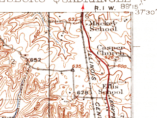 Reduced fragment of topographic map en--usgs--063k--055901--(1923)--N037-30_W089-30--N037-15_W089-15; towns and cities East Cape Girardeau, Jonesboro, Mill Creek