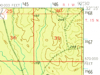 Reduced fragment of topographic map en--usgs--063k--055902--(1949)--N032-15_W092-45--N032-00_W092-30; towns and cities Dodson, Jonesboro