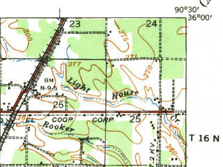 Reduced fragment of topographic map en--usgs--063k--055903--(1939)--N036-00_W090-45--N035-45_W090-30; towns and cities Jonesboro, Brookland