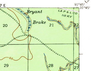 Reduced fragment of topographic map en--usgs--063k--055906--(1941)--N031-45_W092-00--N031-30_W091-45 in area of Bushley Bayou; towns and cities Jonesville