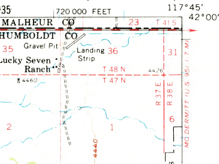Reduced fragment of topographic map en--usgs--063k--055910--(1959)--N042-00_W118-00--N041-45_W117-45