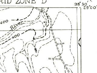 Reduced fragment of topographic map en--usgs--063k--055914--(1956)--N029-00_W098-45--N028-45_W098-30; towns and cities Charlotte, Jourdanton