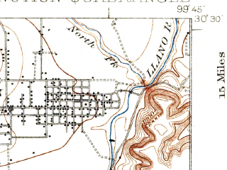 Reduced fragment of topographic map en--usgs--063k--055917--(1932)--N030-30_W100-00--N030-15_W099-45; towns and cities Junction