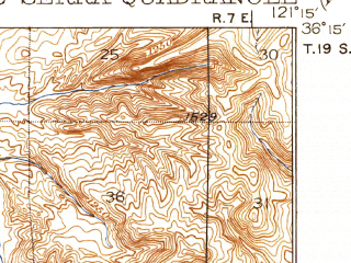 Reduced fragment of topographic map en--usgs--063k--055940--(1919)--N036-15_W121-30--N036-00_W121-15