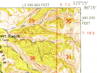 Reduced fragment of topographic map en--usgs--063k--055940--(1948)--N036-15_W121-30--N036-00_W121-15