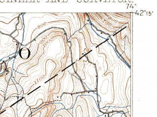Reduced fragment of topographic map en--usgs--063k--055942--(1893)--N042-15_W074-15--N042-00_W074-00; towns and cities Hunter, Tannersville, West Hurley