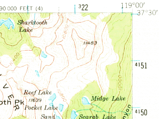 Reduced fragment of topographic map en--usgs--063k--055955--(1953)--N037-30_W119-15--N037-15_W119-00 in area of Big Margaret Lake