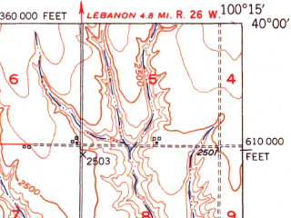 Reduced fragment of topographic map en--usgs--063k--055969--(1951)--N040-00_W100-30--N039-45_W100-15