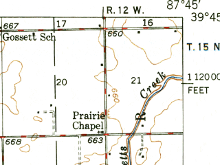 Reduced fragment of topographic map en--usgs--063k--055970--(1949)--N039-45_W088-00--N039-30_W087-45; towns and cities Kansas, Redmon, Brocton