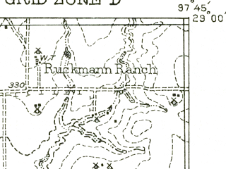 Reduced fragment of topographic map en--usgs--063k--056010--(1956)--N029-00_W098-00--N028-45_W097-45; towns and cities Karnes City, Kenedy