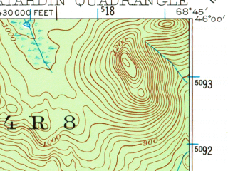 Reduced fragment of topographic map en--usgs--063k--056014--(1949)--N046-00_W069-00--N045-45_W068-45 in area of Katahdin Lake