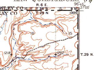 Reduced fragment of topographic map en--usgs--063k--056035--(1935)--N037-00_W097-00--N036-45_W096-45; towns and cities Kaw City