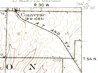 Reduced fragment of topographic map en--usgs--063k--056042--(1942)--N039-30_W094-30--N039-15_W094-15; towns and cities Holt, Kearney, Mosby