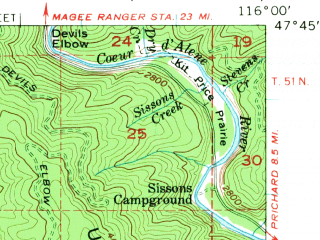 Reduced fragment of topographic map en--usgs--063k--056050--(1957)--N047-45_W116-15--N047-30_W116-00; towns and cities Kellogg, Osburn, Pinehurst