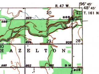 Reduced fragment of topographic map en--usgs--063k--056096--(1941)--N048-45_W097-00--N048-30_W096-45; towns and cities Donaldson, Kennedy