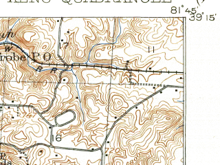 Reduced fragment of topographic map en--usgs--063k--056099--(1907)--N039-15_W082-00--N039-00_W081-45; towns and cities Coolville, Syracuse