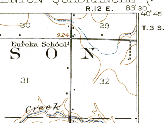 Reduced fragment of topographic map en--usgs--063k--056106--(1915)--N040-45_W083-45--N040-30_W083-30; towns and cities Kenton, Belle Center, Mount Victory, Ridgeway