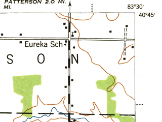 Reduced fragment of topographic map en--usgs--063k--056106--(1944)--N040-45_W083-45--N040-30_W083-30; towns and cities Kenton, Belle Center, Mount Victory, Ridgeway